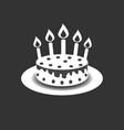 Birthday cake with burning candles pictogram icon
