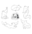 Black and white set of hand drawn cute foxes in vector image
