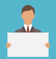 Business Man Holding Big Blank Paper vector image vector image