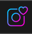 camera icon with heart social symbol vector image