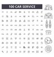 car service editable line icons 100 set vector image vector image