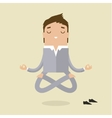 Cartoon business man is doing yoga vector image vector image