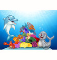 Cartoon tropical fish with Beautiful Underwater vector image vector image