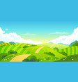 colorful summer bright fields landscape green vector image vector image