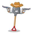 cowboy shovel character cartoon style vector image vector image