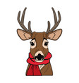 cute reindeer with scarf cartoon vector image vector image