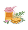 decorative composition with jar of sweet honey vector image vector image