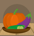 delicious fresh vegetables cartoon vector image