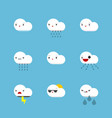 emotional cartoon clouds with personality vector image