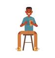 flat man drinking beer in bar vector image