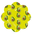 frame with avocado and cutlery pattern background vector image vector image