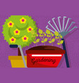 gardening banner wheelbarrow pitchfork potted tree vector image
