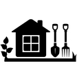 gardening tools icon with garden house vector image vector image