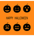 Happy Halloween Six black silhouette funny smiling vector image vector image