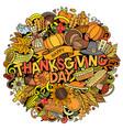 happy thanksgiving hand drawn cartoon doodles vector image vector image