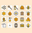honey farm icon set vector image vector image