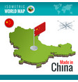 isometric map and flag china peoples vector image