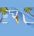 landing page for surf school isometric man riding vector image vector image