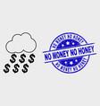 line dollar rain cloud icon and grunge no vector image vector image