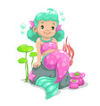 little cute cartoon young mermaid vector image vector image