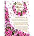 mother day greeting banner with pink spring flower vector image vector image