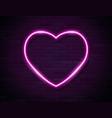 neon pink glowing heart banner on dark empty vector image vector image