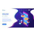 online order isometric 3d landing page vector image vector image