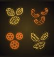 pasta noodles neon light icons set vector image