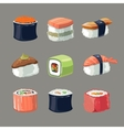 picture set sushi rolls food vector image vector image