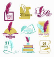 poetry and writers day isolated icon feather and vector image vector image