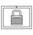 protected tablet icon outline style vector image vector image