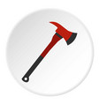 red firefighter axe icon circle vector image vector image