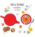 red porcelain teapot on table and white cup wi vector image vector image