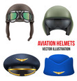 Retro aviator pilot helmet with goggles Isolated vector image vector image