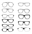 set different eyeglasses and sunglasses vector image vector image