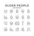 set line icons older people vector image vector image