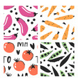set of hand drawn seamless pattern with vegetables vector image