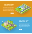 Set of Isometric City Web Banners
