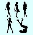 skinny woman gesture silhouette vector image vector image