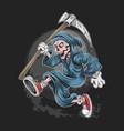 skull dead grim reaper running artwork with editab vector image vector image