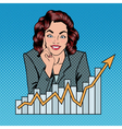 Successful Businesswoman and Arrow Graph Pop Art vector image vector image