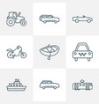 transportation icons line style set with vector image