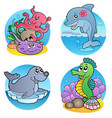 various water animals and fishes 1 vector image vector image
