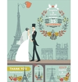 Wedding invitationBride groomautumn wreath vector image vector image