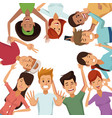 white background with colorful group of friends vector image vector image