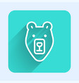 white line bear head icon isolated with long vector image vector image