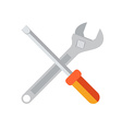 Wrench and screwdriver flat icon isolated on white vector image
