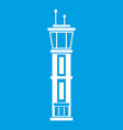 airport control tower icon white vector image vector image