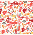 background pattern with firefighter icons and symb vector image vector image