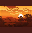 beautiful forest at sunset vector image vector image